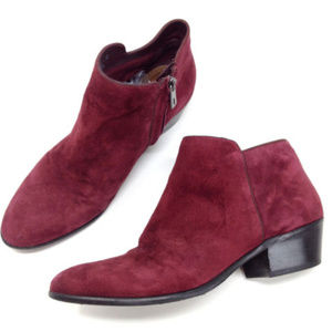 Sam Edelman Petty Maroon Suede Heeled Ankle Boots